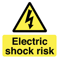 Electric Shock Risk  50x50mm Self Adhesive Vinyl Safety Sign Pack of 10