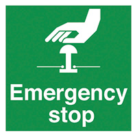 Emergency Stop  50x50mm Self Adhesive Vinyl Safety Sign Pack of 10