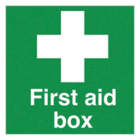 First Aid Box 50x50mm Self Adhesive Vinyl Safety Sign Pack of 10