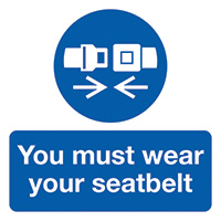 You Must Wear Your Seatbelt  50x50mm Self Adhesive Vinyl Safety Sign Pack of 10
