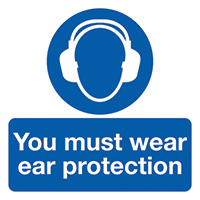 You Must Wear Ear Protection 50x50mm Self Adhesive Vinyl Safety Sign Pack of 10