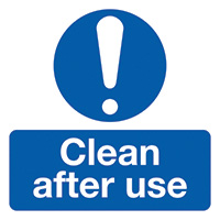 Clean After Use 50x50mm Self Adhesive Vinyl Safety Sign Pack of 10