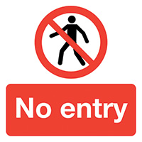 No Entry  50x50mm Self Adhesive Vinyl Safety Sign Pack of 10
