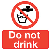 Thumbnail Do Not Drink  50x50mm Self Adhesive Vinyl Safety Sign Pack of 10