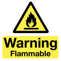 Warning Flammable 50x50mm Self Adhesive Vinyl Safety Sign Pack of 10
