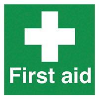 First Aid 50x50mm Self Adhesive Vinyl Safety Sign Pack of 10
