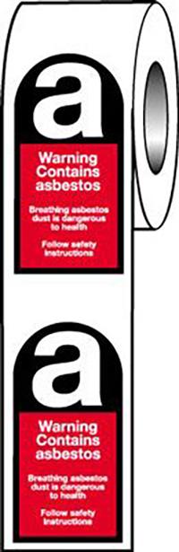 Warning Asbestos  52x26mm Self Adhesive Vinyl Safety Sign