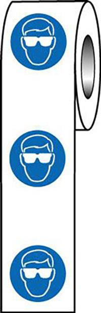 Eye Protection Symbol 40mm Self Adhesive Vinyl Safety Sign