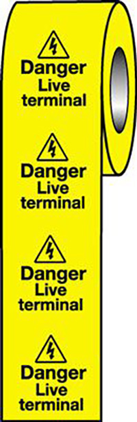 Danger Live Terminal  50x50mm Self Adhesive Vinyl Safety Sign