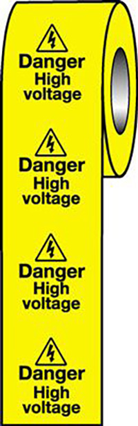 Danger High Voltage  50x50mm Self Adhesive Vinyl Safety Sign