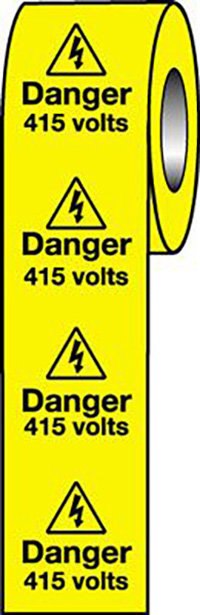 Danger 415 Volts  50x50mm Self Adhesive Vinyl Safety Sign