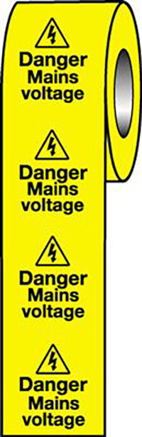Danger Mains Voltage  50x50mm Self Adhesive Vinyl Safety Sign