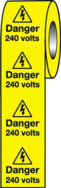 Danger 240 Volts  50x50mm Self Adhesive Vinyl Safety Sign