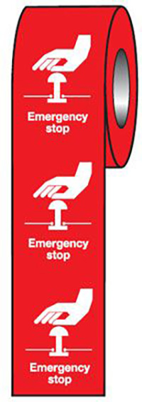Emergency Stop  Red  75x55mm Self Adhesive Vinyl Safety Sign