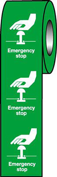 Emergency Stop  Green  75x55mm Self Adhesive Vinyl Safety Sign