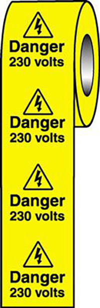 Danger 230 Volts  50x50mm Self Adhesive Vinyl Safety Sign