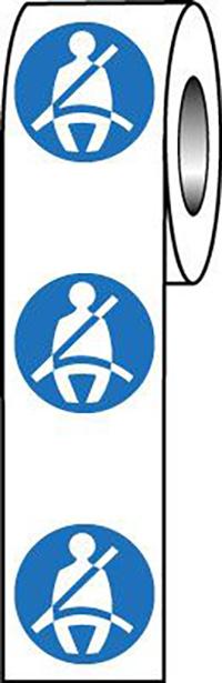 Wear Seatbelt Symbol 40mm Self Adhesive Vinyl Safety Sign