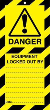 50x110mm Danger Equipment Locked Our By Lockout tags