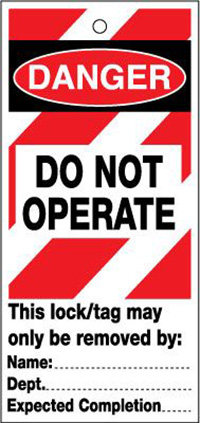75x160mm Do not operate  red and white   Lockout tags