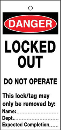 75x160mm Locked out Do not operate Lockout tags