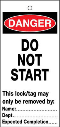75x160mm Do not start Lockout tags