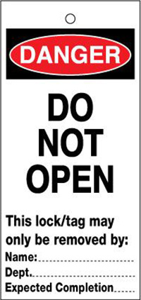 75x160mm Do not open Lockout tags