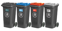 Wheeled Bins - Recycling Centre - Set of 4