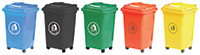 Wheeled Bins - 50 Litres - Available in Blue  Green  Dark Grey or Red/Orange