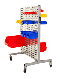 Small Louvre Trolley. Includes Complete Trolley with 2 braked   2 unbraked swivel castors  plastic handle and panels both sides