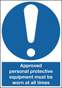 Approved Personal Protective Equipment Must Be Worn At All Times 210x148mm 1.2mm Rigid Plastic Safety Sign