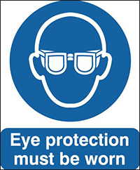 Eye Protection Must Be Worn  100x75mm Self Adhesive Vinyl Safety Sign