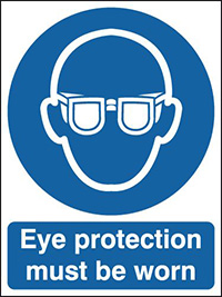 Eye protection must be worn  210x148mm 1.2mm Rigid Plastic Safety Sign