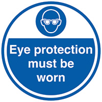 Eye protection must be worn  450mm Self Adhesive Vinyl Safety Sign