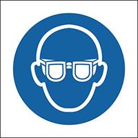 Eye Protection Symbol  50x50mm Self Adhesive Vinyl Safety Sign