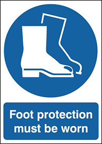 Foot Protection Must Be Worn 210x148mm 1.2mm Rigid Plastic Safety Sign
