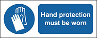 Hand Protection Must Be Worn 210x148mm 1.2mm Rigid Plastic Safety Sign