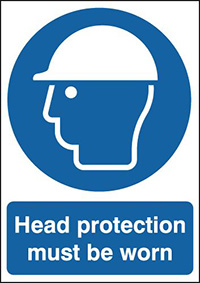 Head Protection Must Be Worn 210x148mm 1.2mm Rigid Plastic Safety Sign