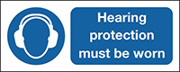 Hearing Protection Must Be Worn  100x250mm 1.2mm Rigid Plastic Safety Sign