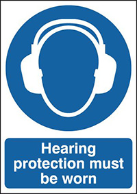 Hearing Protection Must Be Worn  210x148mm 1.2mm Rigid Plastic Safety Sign