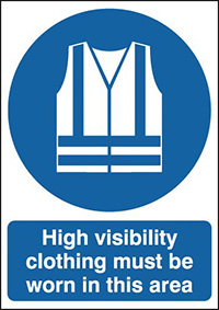 High Visibility Clothing Must Be Worn In This Area 297x210mm 1.2mm Rigid Plastic Safety Sign