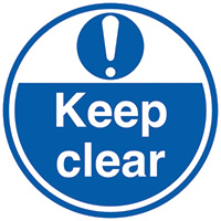 Keep clear  450mm Self Adhesive Vinyl Safety Sign