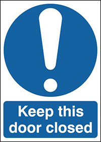 Keep This Door Closed 150x125mm 1.2mm Rigid Plastic Safety Sign