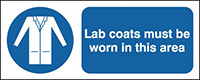 Lab Coats Must Be Worn In This Area 210x148mm 1.2mm Rigid Plastic Safety Sign