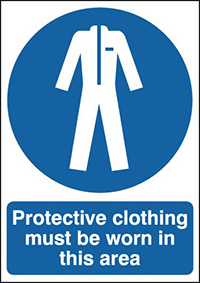Protective Clothing Must Be Worn In this Area 210x148mm 1.2mm Rigid Plastic Safety Sign