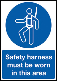 Safety Harness Must Be Worn In This Area 210x148mm 1.2mm Rigid Plastic Safety Sign