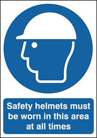 Safety Helmets Must Be Worn In This Area At All Times 210x148mm 1.2mm Rigid Plastic Safety Sign