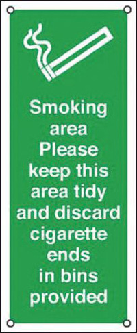 Smoking Area Please Keep This Area Tidy  250x100mm 0.9mm Aluminium Safety Sign