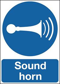 Sound Horn 210x148mm 1.2mm Rigid Plastic Safety Sign