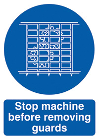 Stop Machine Before Removing Guards  210x148mm  1.2mm Rigid Plastic Safety Sign