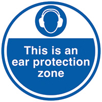 This is an ear protection zone  450mm Self Adhesive Vinyl Safety Sign